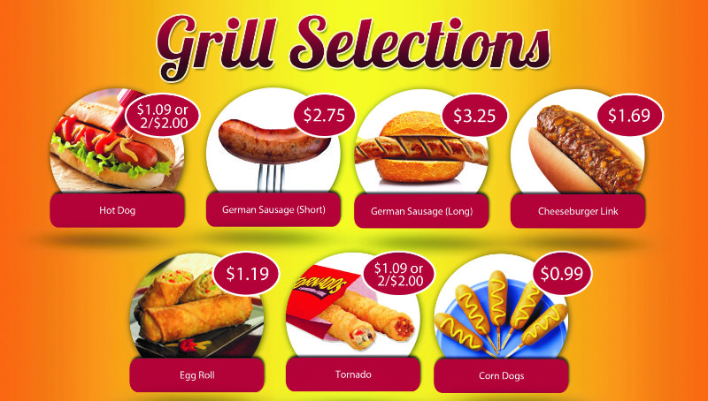Grill Selections Menu